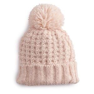 Lauren Conrad blush pom beanie hat. New with tags